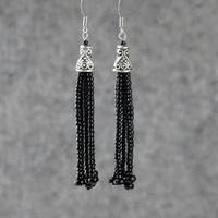 Black lantern tassel beads earrings drop earrings multicolor