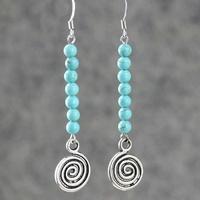 Turquoise earrings women long design vintage national trend jewelry earring tassel accessories drop earrings