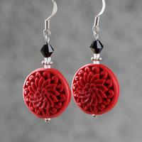 Red earrings carved lacquer flower gift jewelry 925 vintage earrings women drop earrings