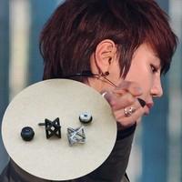 58 infinite three-dimensional lines planet silver black titanium stud earring