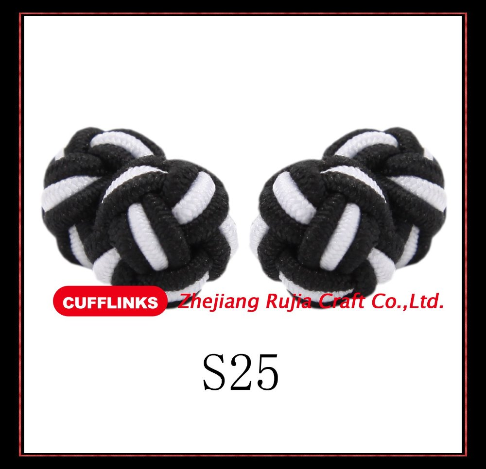 S25 Fashion Round Silk knot cufflinks free shipping(China (Mainland))