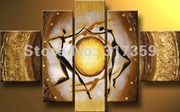 Free shipping wholesale canvas golden 5pc/set art abstract oil paintings No framed  acrylic paintings art