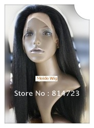 New store on discount #1b Italy yaki straight glueless front lace wigs 100% indian human hair wig fashion free shipping ePacket(China (Mainland))