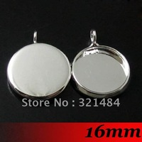 Free ship! Silver Plated 200pcs 16mm Round Cameo Cabochon Setting Earring Drop Pendant Base Blanks Trays Bezel Charms