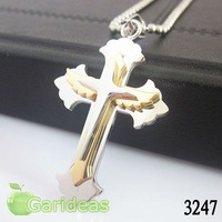 Free shipping +Wholesale Fashion Gold&Silver Stainless Steel Wing Cross Multi Chain Pendant Necklace New Cool Gift Item ID:3247