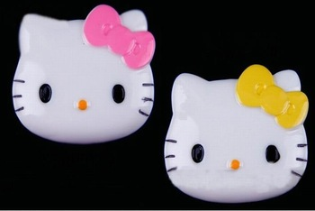 Free shipping,very popular Kawaii adorable flat back resin DIY decorative Big Size Bowtie Kitty,2color 10 batch