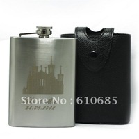 (5pcs/lot)Leather Holster +8 OZ Hip Flask  Stainless Steel Flagon Personalized given to making  Wedding or Party Gift