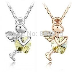 God of Love Cupid Light Yellow Crystal 18K Gold Plated Necklace
