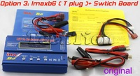 Free shipping Original IMax B6 AC B6AC Digital LCD Lipo NiMh 2s - 6s battery Balance Charger +switch board(option 3)