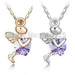 God of Love Cupid Violet Crystal 18K Gold Plated Necklace