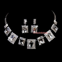 Free Shipping Gorgeous alloy chain sets silver rhinestone necklace artificial crystal bling set tl159