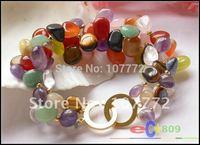 "3row 8"" nature jade & Lemon Stone & pink crystal citrine amethyst bracelet   free +shippment"