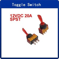 10 Pcs 12VDC 20A ON/OFF Red Lamp 12mm Mounting Thread Dia. Toggle Switch
