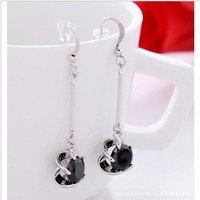 Fashion black/white zircon 18kt white gold filled earrings free gift  A88180 Zircon earrings