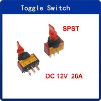 "12VDC 20A Two Position ON/OFF SPST 0.47"" Mount Red Light Toggle Switch 10 Pcs"
