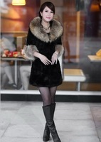 Women's Raccoondog  Fur  Collar With Rabbit Fur Coat ,Down Coat Lady Long Jacket  & Belt Winter Clothes Black Best Selling