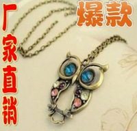 Free Shipping Coloured Rhinestone Carved Vintage Owl Necklaces-Free Shipping