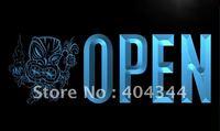 LK794- OPEN Tiki Bar Mask Beer  Neon Light Sign   hang sign home decor shop crafts led sign