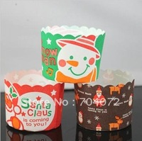 wholesale-30pcs/lot free shipping christmas tree snowmen  cupcake case cake liner cups paper cake cups muffin cups