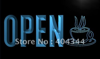 LK779-TM OPEN Coffee Shop Cup Cafe NEW Neon Light Sign.  led sign