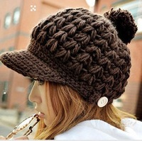 Wholesale Fashion New 2014 Cute Pompon Brim Caps Womens Winter Hats Ladies Knit Hats Fitted Brown Crochet Skullcap Knitting Caps