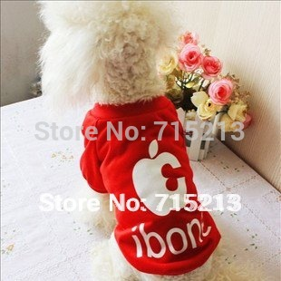 Free shipping S M L XL Sizes Black Red Apple iBone5 dog T-shirt dog clothes pet clothes puppy clothes fashion hot sale popular(China (Mainland))
