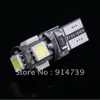 Free Shipping 10pcs/lot T10 5 LED Canbus W5W 194 5050 SMD Error Free White Light Bulbs