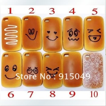 Cute 3D Fragrant Bread Hamburger Soft silicon Case Cover Skin For iPhone 4 4G 4S
