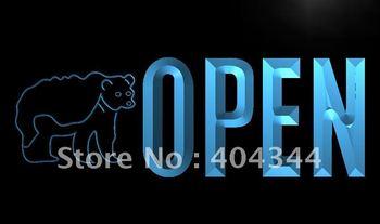 LK860- OPEN Bear Display Bar Beer Shop Neon Light Sign   hang sign home decor shop crafts led sign