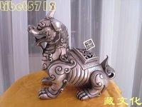 Chinese White Copper Silver Lucky Beast dragon statue censer incense burner 25cm
