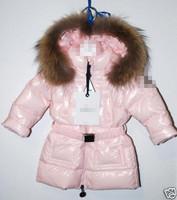 Child down coat female child pink medium-long large fur collar belt
