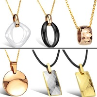OPK JEWELRY White Ceramic Pendant Tungsten necklace rose gold black ceram necklaces top quality 10pcs/lot free shipping DHL EMS