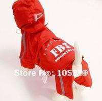 Free Shipping Fashion Blue Red Yellow FBI Large Dog Raincoat Waterproof Dog Poncho Pet Clothing