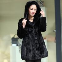 Winter Ladies' Fashion Genuine Natural Piece Mink Fur Coat Jacket With Hoody Women Fur Overcoat Outerwear Coats Plus Size VK0331