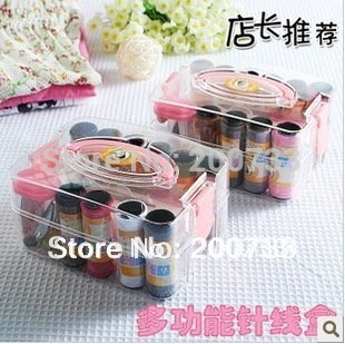 free shipping/ compact pp sewing box with color needle threas/ sewing kits