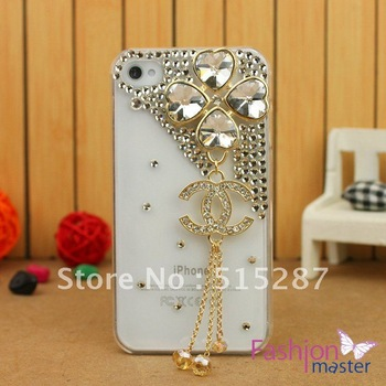 free shipping,Fashion mobile phone case cover for iphone4/4s,clovers flower chain beads,bling rhinestone crystal pearl,2colours