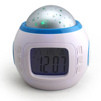 free shipping Music projection clock calendar clock blue screen colorful projection lamp colorful alarm clock 170