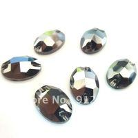 Free shipping  (72pcs/lot) Like SW-3210 Sew On stone FlatBack rhinestone  Jet hematite AB 11*16mm