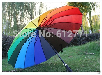 Rainbow umbrellas price of factory direct sales, creative long handle princess umbrella, support QingYuSan wholesale.