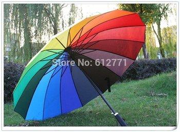 Rainbow umbrellas price of factory direct sales, creative long handle princess umbrella, support QingYuSan wholesale.