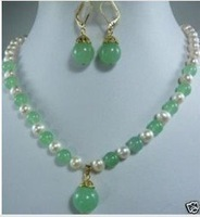 virgin Very chic trend Women's Genuine jade white pearl necklace earring pendant sets