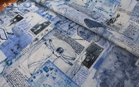 50cm*110cm KOKKA DIY Pachwork  Sketch pattern  cotton fabric   Japanese Import