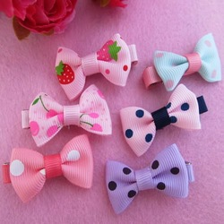 5X Cute Dots Baby Girl Toddler Snap Bow Alligator Hair Clips Hairpin Headband[99077](China (Mainland))