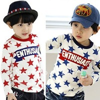 freeshipping!!90cm-130cm!! autumn star paragraph boys clothing girls clothing baby long-sleeve T-shirt basic shirt 5pcs/lot