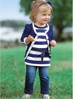 TZ-011,Free Shipping! baby clothes set coat+shirt+Jeans 3pcs blue girl clothing set autumn children garment Wholesale And Retail