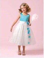 GA077 Tea Length Vintage Sleeveless Beautiful Sash Satin White Flower Girl Dresses
