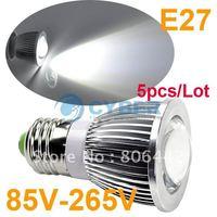 5pcs/Lot New E27 5W High Power COB LED SMD Pure White Spot Light Bulb Lamp 85V-265V Free Shipping