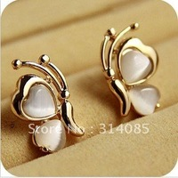 Min.order is $15 (mix order) Korean fashion princess heart opal butterfly earrings E166