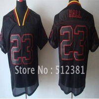 Free Shipping!!! 2012 new style jersey #23 DeAngelo Hall 2012 new MEN'S Lights Out Black ELITE JERSEYS