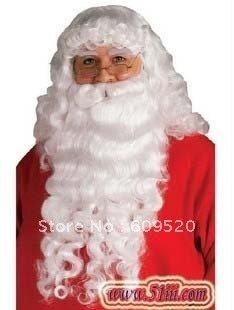 Christmas Santa Claus Costume Complete Beard Wig and Eyebrow set wigs shipping ld10(China (Mainland))